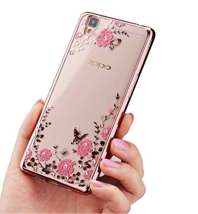 Electroplate Protective Soft Shell Flowers Printings Case For Oppo R9S Plus
