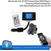 Bluetooth Car Kit FM Transmitter MP3 Player Steering Wheel Handsfree with Remote Car Bluetooth Kit