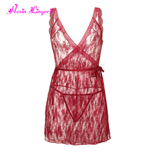 Satin Halter Neck Red sexy hot baby doll mature lace nightdress hot lingeries