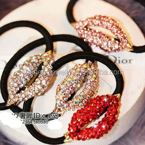 Smile Hair Accessories Korea Rhinestone Lips Elastic Hair Bands