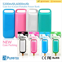Black Friday Hot Sale, Best Christmas Gift 5200mah 6000mA Cute Ice-cream Portable Power Bank Charger for iPhone5s 6s plus ios9