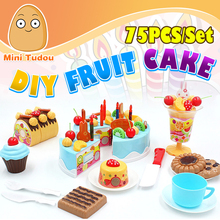 Minitudou 75PCS DIY Cutting Birthday Cake Children Kids Baby Early Educational Classic Toy Pretend Play Kitchen Food Plastic Toy