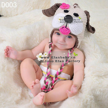 2013 high quality hand made crochet animal hat beanie hats for baby gilrs funny dog earflap caps designs