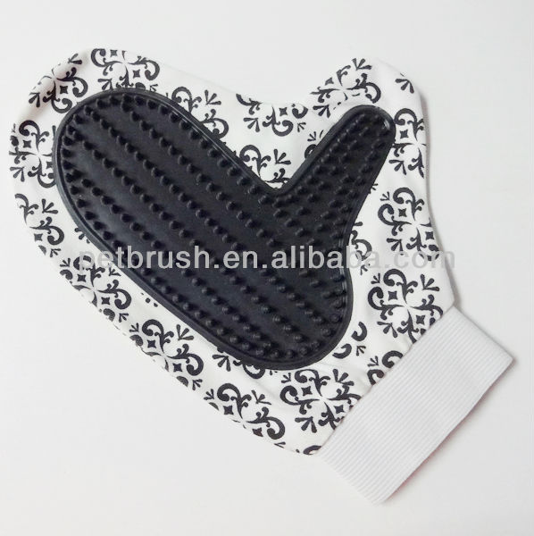 Flower-printed pet grooming glove/glove brush
