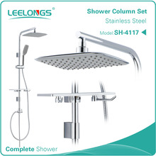 Leelongs Bathroom Wall Stainless Steel Rain Shower Column Bar Set
