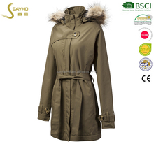 Good quality outdoor women long trench waterproof jacket with fleece lining