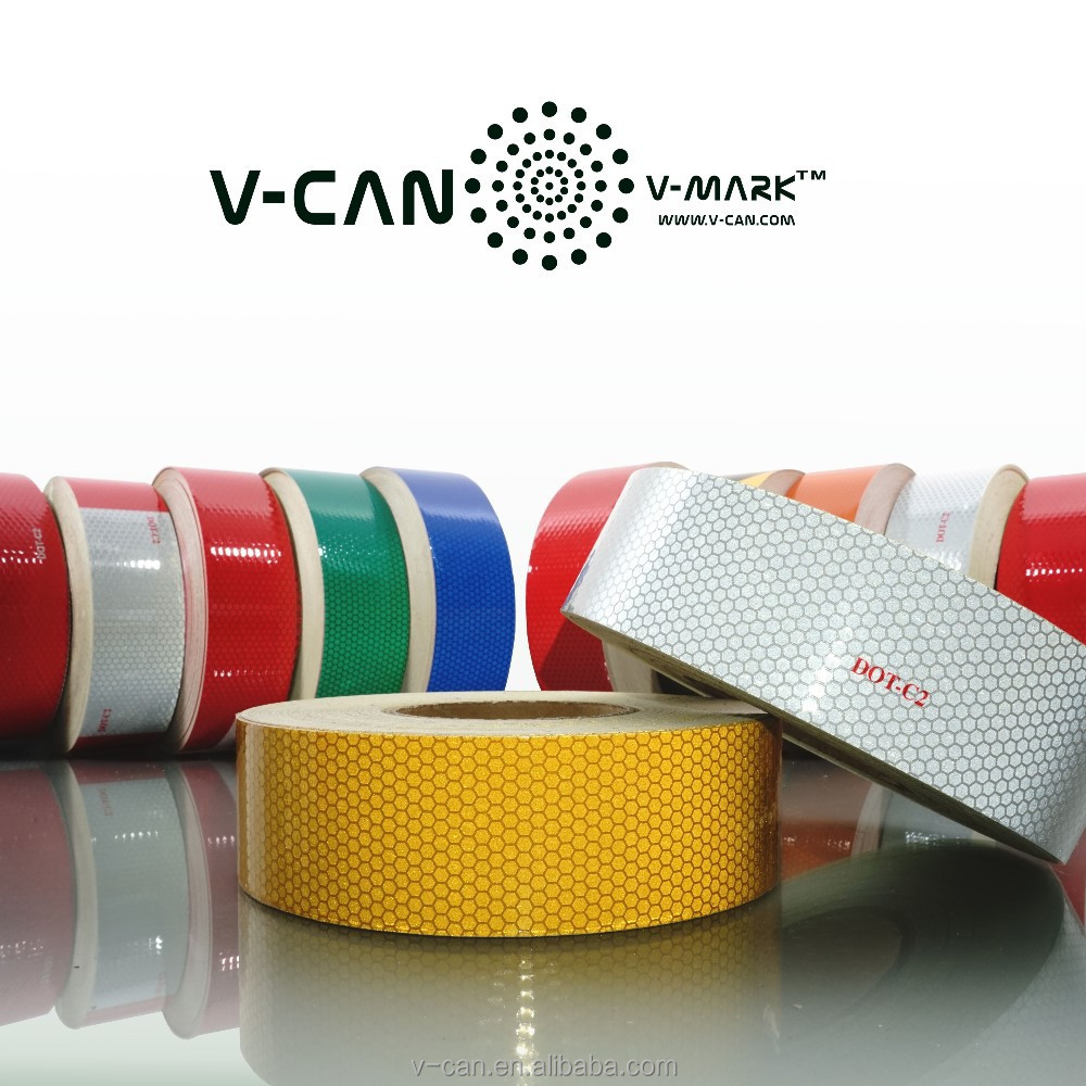 Micro Glass Bead Reflective Tape, DOT FMVSS 108 Yellow Retro-reflective Tape, HI-INT-1800YW