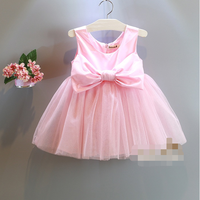 W71962G 2016 fashion design small girls dress bowknot party frock for baby girls