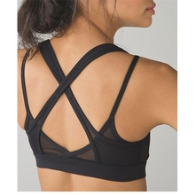 Stretch seamed cut out strappy yoga bra black mesh nylon workout fitness clothes womens tops sports bra