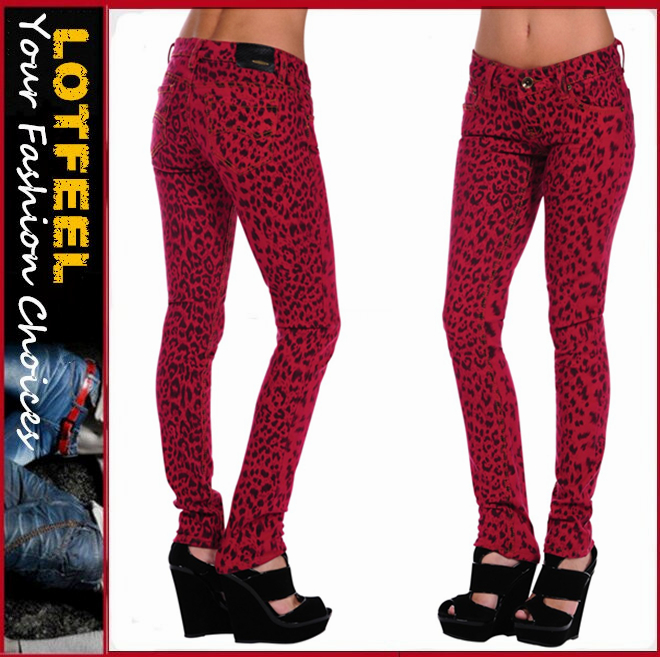 Leopard Skinny fitted skinny women denim jean with bold leopard pattern (LOTX038)