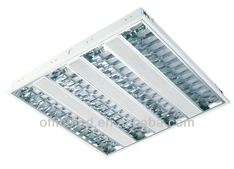 4 lamp 14w T5 recessed mounted fluorescent grid light fixture