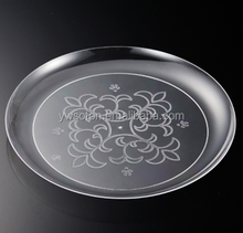 Disposable clear with steel or silver coated solid round plate wedding party plastic plate