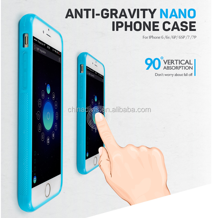 Hot protective cover washable nano suction tech adsorption magic selfie sticky mobile phone case anti gravity case for iphone 7