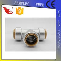LB-GutenTop 3/4 chrome plated brass Tee push fitting for corrugated pipe