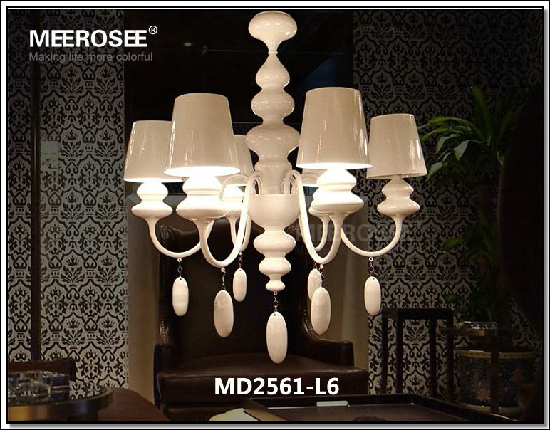 White Resin Chandelier Dining Room Crystal Chandeliers Lighting Collections Light Up Decorations MD2561 L6