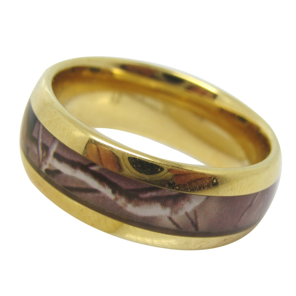 color gold comfort fit wedding band men's hunting camo tungsten ring