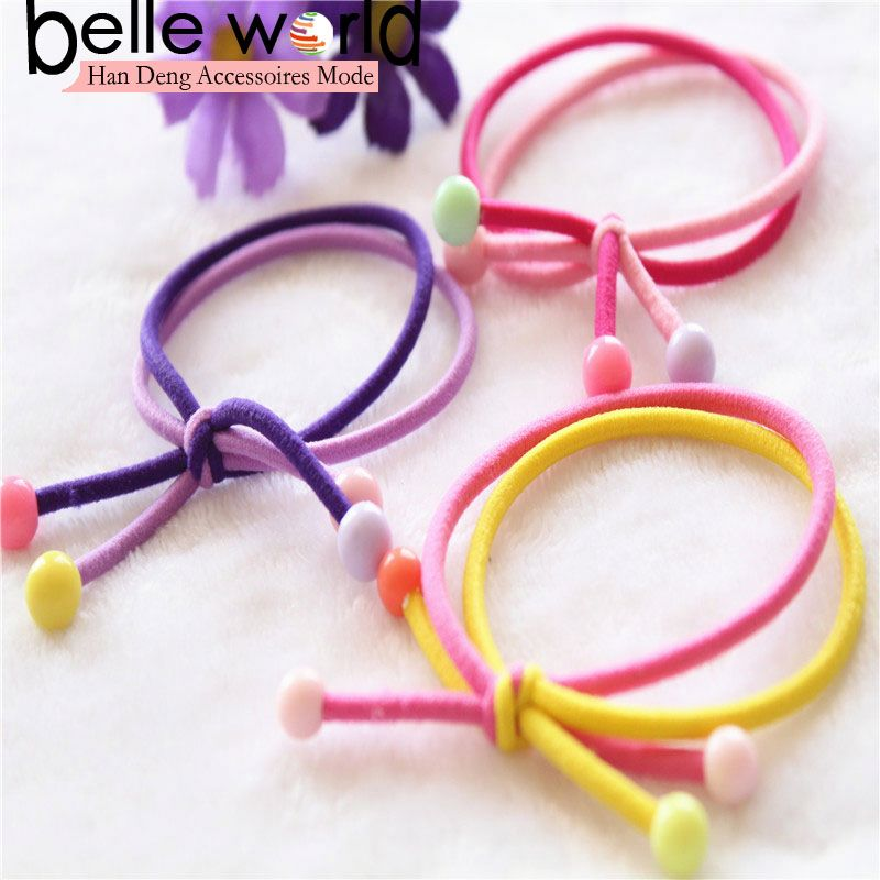 Lovely double layer plastic beads elastic pony tail hair tie for girls