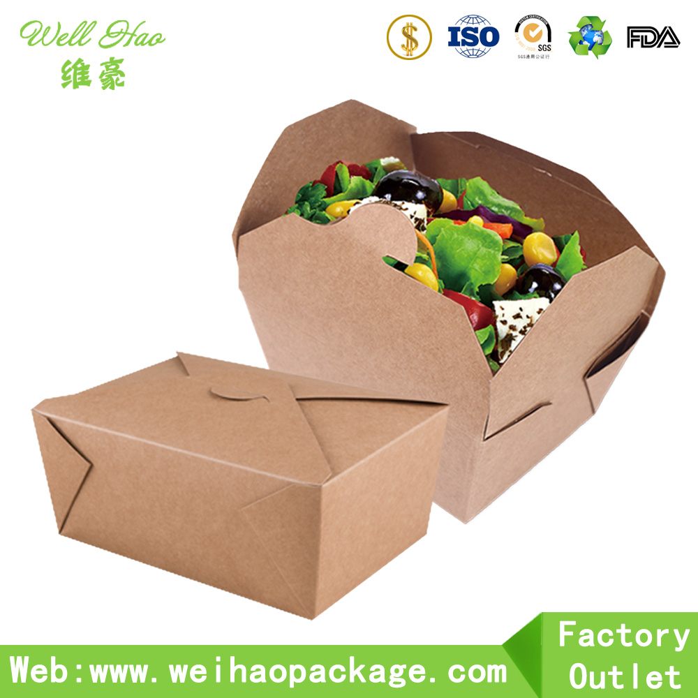 Custom Printed Disposable Food Kraft Lunch Paper Box For Food