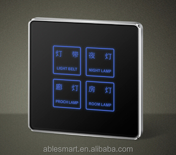 ABLE newest design Hotel 4 gangs touch screen wall electrical control switch