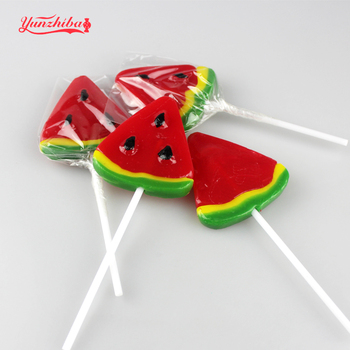 Fruity flavor watermelon shape sweet lollipops