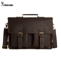 0344 Business Bag Genuin Leather Crossbody Messenger Handbag 14inch Laptop Bag with Laptop Compartment for Businessmen