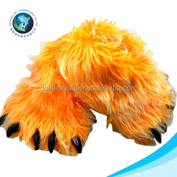 Wholesale cheap cute yellow fun feet slipper pet bed fashion soft plush monster woman slipper