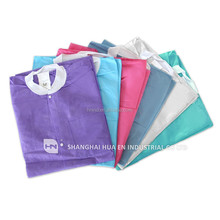 PP/PE coated/SMS/SMMS disposable non woven blue purple yellow pink green white disposable lab coats