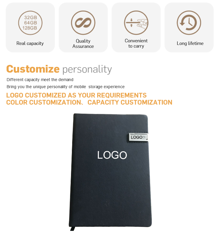 Wholesale A5 Size High Quality PU Leather Notebook with metal USB Flash Drive