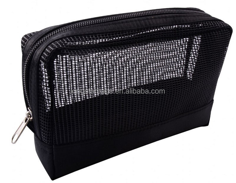 Custom Promotional Cosmetic Bag Black Mesh Makeup Bag