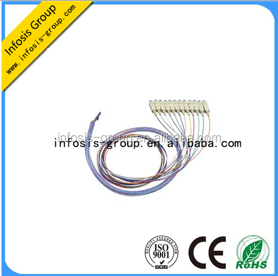 low loss networking pigtail 12 cores Bundle fiber pigtail FC ST SC LC MU Connectors pigtail catheter with high performance