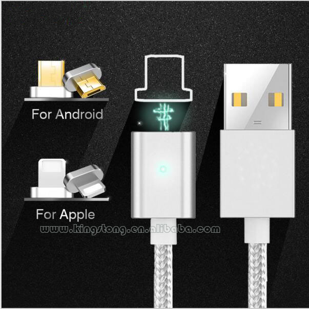 Nylon Braided 2 in 1 magnetic usb cable compatible with multiple devices,magnetic Adapters