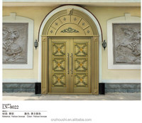 yellow bronze arched exterior front entry double door with weather stripping for house, villadom