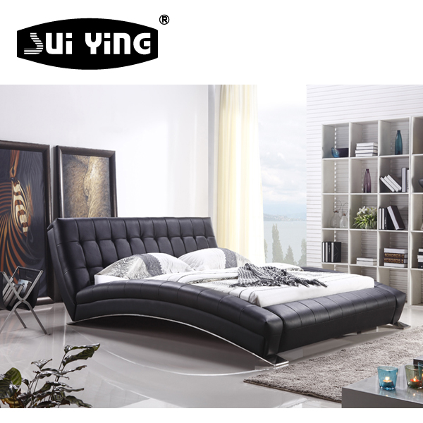 fashional leather bed design Italian curve shape double bed A059