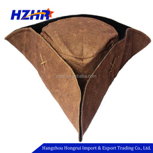 Adult leather triangle brown pirate tricorn hat adult felt tricorn cap pirate captain jack caribbean hat
