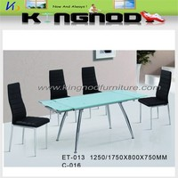 white glass design modern extendable dining table