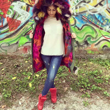 2016 New Fashion Women Sexy Large Natural Multicolor Raccoon Fur Collar Parka / Women Winter Real Fox Fur Coat