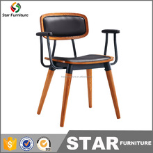 Modern restaurant part armrest metal wooden dining chair bistro chair with PU leather