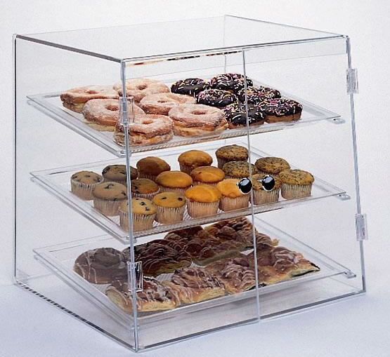 Hot sales clear square acrylic bread display case lucite for Fabricant de stand