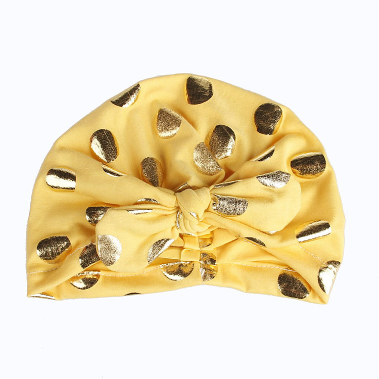 Latest Patterns Cute Gold Polka Dot Cotton Warm Winter Fashion Caps Baby Stylish Accessories Baby Boy and Girl Hats