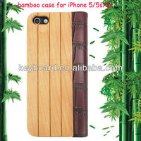 hot selling leather PU with natural bamboo case for iphone5/5s/5c