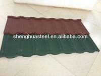 Metal corrugated red roof stone tiles