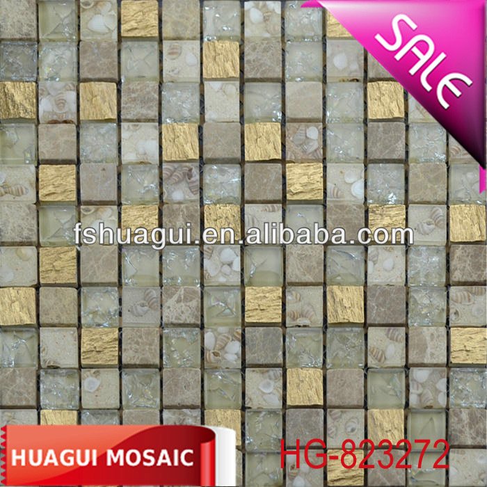 Resin/light emperador stone/shell mosaic tile for construction/interior decoration/background wall