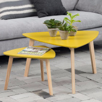 scandinavian small pine wood triangle end table with yellow MDF top