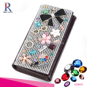 Fancy kawaii style girl lady use leather material crystal decorative money wallet
