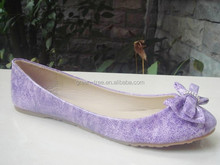 High quality elegant purple ladies leather flat open shoes