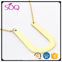 SOQ Stainless Steel Gold Initial Alphabet U Script Name Pendant Chain Necklace