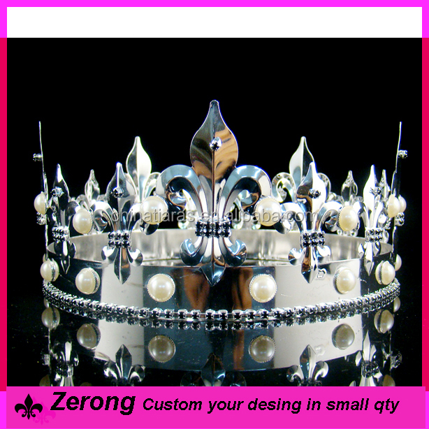 3inch custom silver pearl with rhinestone full round pageant king <strong>crown</strong> for men