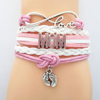 Wholesale Fashion Custom Letters DIY Mom Grandma Infinity Love Footprint Pink Leather Bracelets