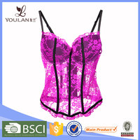 Fashionable Good Quality Floral Pink Lace Cusomized Sexy Transparent Sexy Women Corset