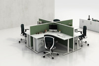 L shape curved office desk with modern office partition(C-series)